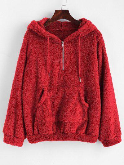 Half Zip Kangaroo Pocket Fluffy Hoodie. Cute Sweatshirts Cool .