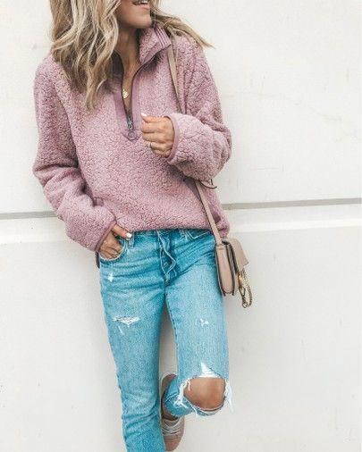 mauve dusty pink sherpa teddy bear fleece half-zip pullover .