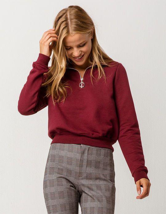 FULL TILT Half Zip Hunter Womens Crop Sweatshirt in 2020 | Half .