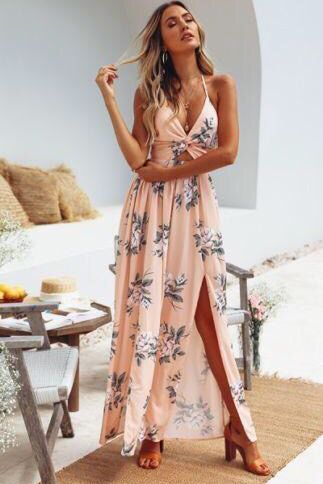 Boho Maxi Long Evening Party Beach Dresses Sundress Floral Halter .