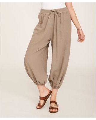 60% Off Ornella Paris Women's Casual Pants - Taupe Tie-Waist Linen .