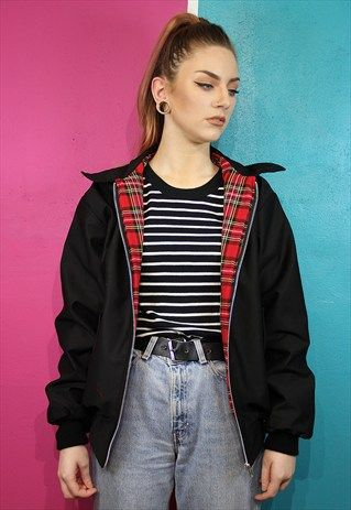 Black tartan lined harrington bomber jacket | Black bomber jacket .