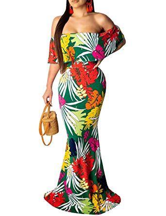 Women's Off Shoulder Dress Hawaiian Floral Evening Grown Long Maxi .