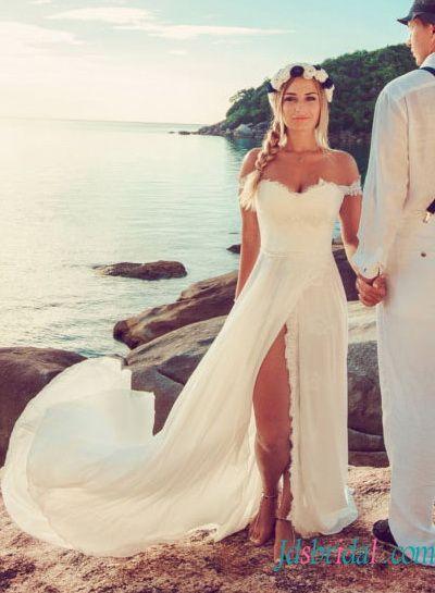 H1513 sexy boho chiffon beach wedding dress with slit skirt Women .