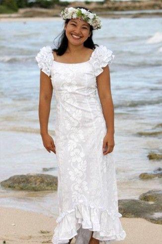 The Holoku is a simple native Hawaiian wedding dress .