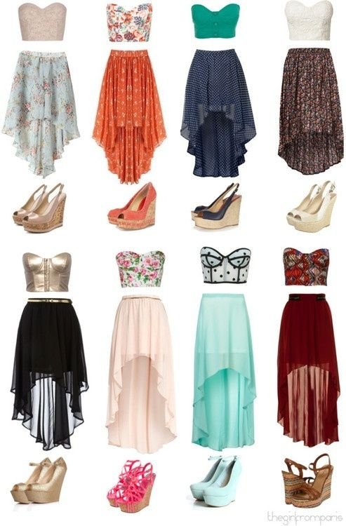 Cropped Bustiers High Low Skirt Wedges   Cute dresses, Fashion .