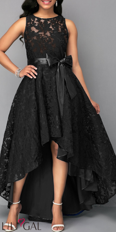 USD46.04 Sleeveless High Low Black Belted Lace Dress #liligal .