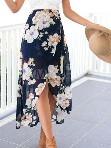 Multicolor High-Low Floral Print Chiffon Summer Skirt | Lace .