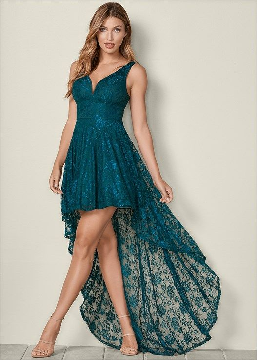HIGH LOW LACE DRESS, HIGH HEEL STRAPPY SANDAL | High low lace .