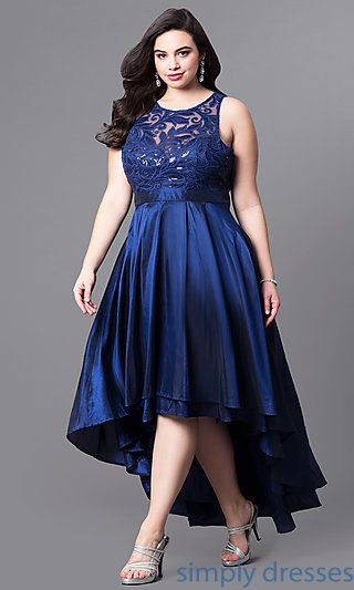 High-Low Plus-Size Wedding Guest Dress with Lace | Plus size .