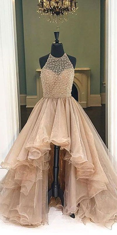 Unique round neck high-low prom dresses for teens, evening dresses .