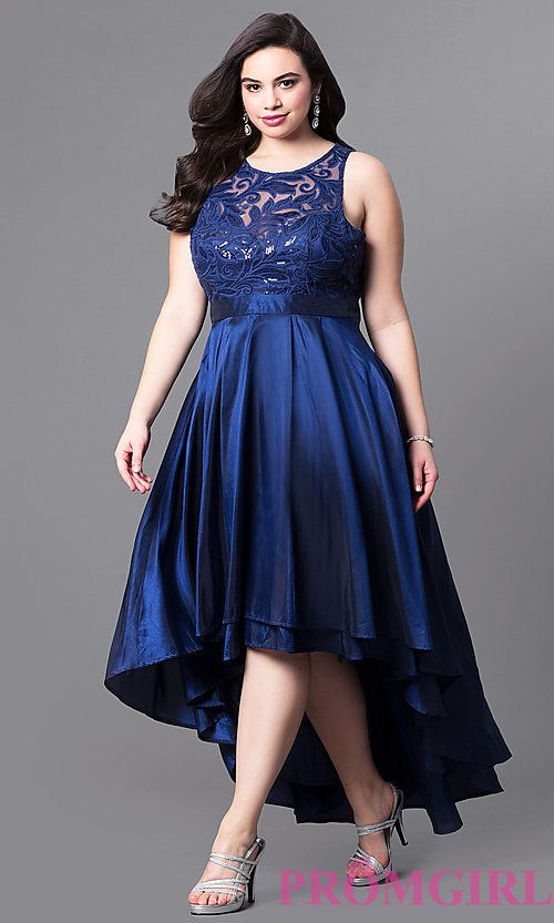 Plus-Size High-Low Prom Dress with Illusion Lace | Plus size .