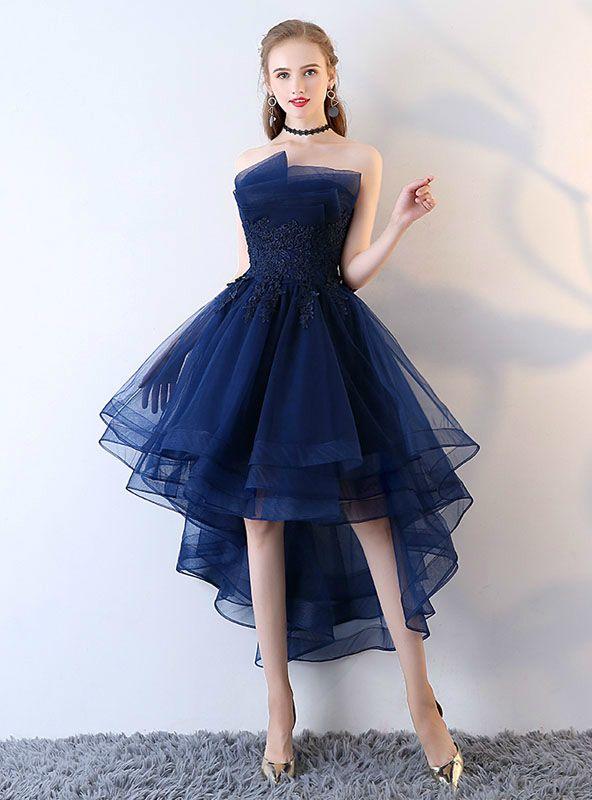 Applique Backless Junior School Dress High-Low Homecoming Dress .