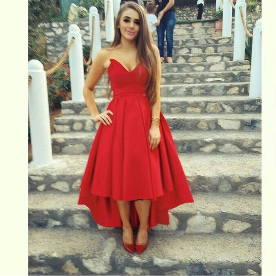 Red strapless high low prom dress, red homecoming dress · Dress .