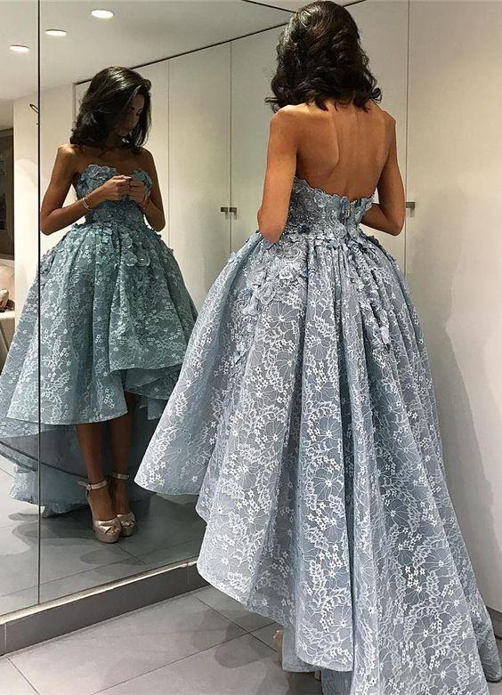 Blue Prom Dress, Lace Prom Dress, High Low Prom Dress, Puffy Prom .