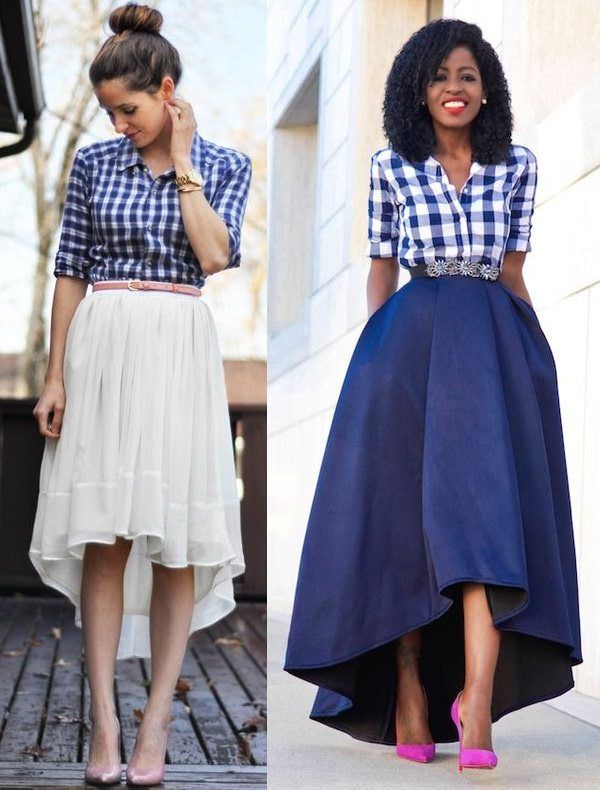 Outfits With High Low Shirts | Outfits, Skirt outfits, Plaid shirt .