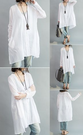 US$17.61 Casual Women Loose White Cotton High Low Blouse | Clothes .