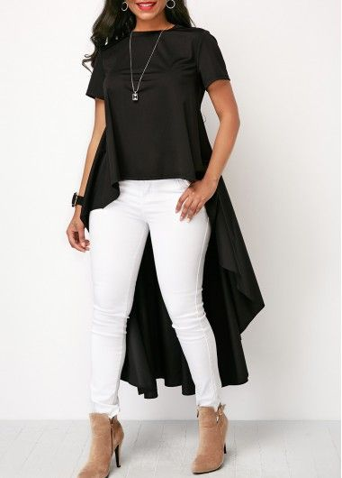 Short Sleeve Round Neck High Low Black Blouse | Rosewe.com - USD .