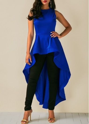 Sleeveless Royal Blue High Low Blouse | Fashion, Trendy tops for .