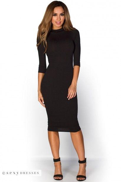 "Marley"" Black 3/4 Sleeve High Neck Bodycon Midi Dress | Midi dress ."