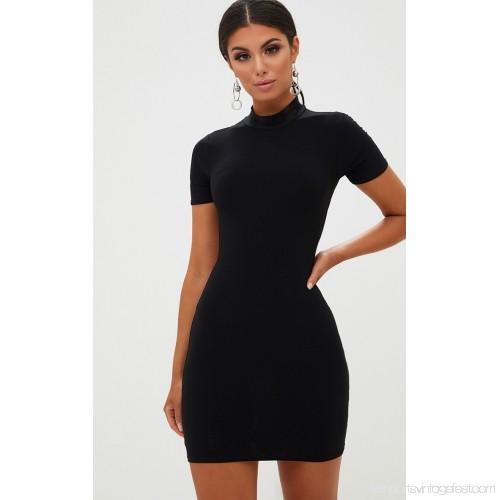 Black High Neck Short Sleeve Tie Back Bodycon Dress. Dresses CLT57