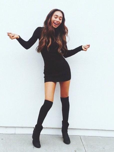dress, black dress, mylifeaseva, black, long sleeves, long sleeve .