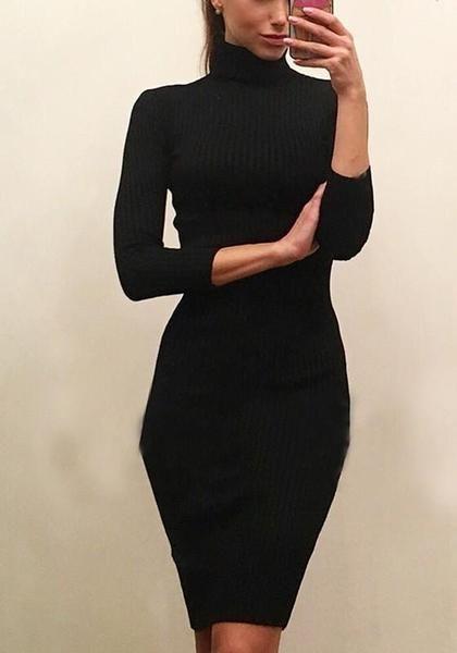 Black Draped High Neck Long Sleeve Fashion Midi Dress | Black .