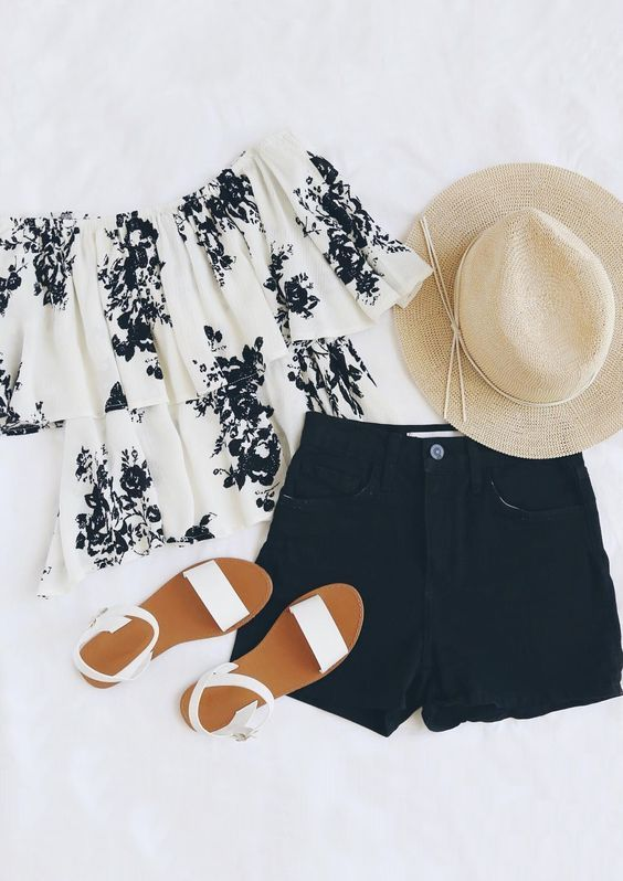 Floral black & white off-the-shoulder top + black high waisted .