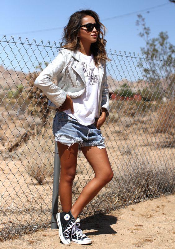 Denim shorts + white tee + jacket + converse high tops = new .