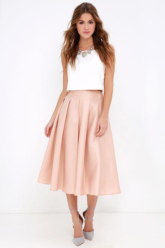 Blush Skirt - Midi Skirt - High-Waisted Skirt - $62.
