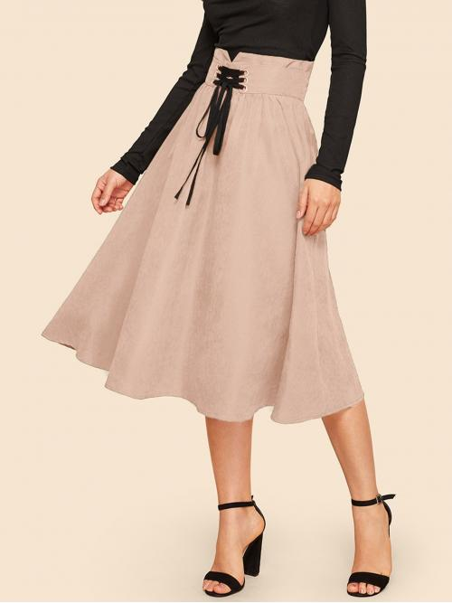 Casual Flared Plain High Waist Pink Midi Length Lace Up Wide Band .