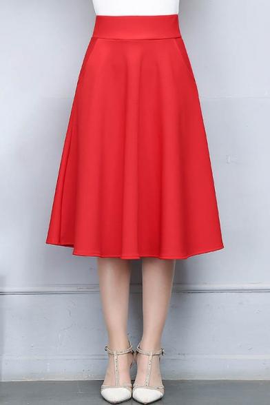 Simple Plain High Waist A-Line Midi Skirt - Beautifulhalo.c