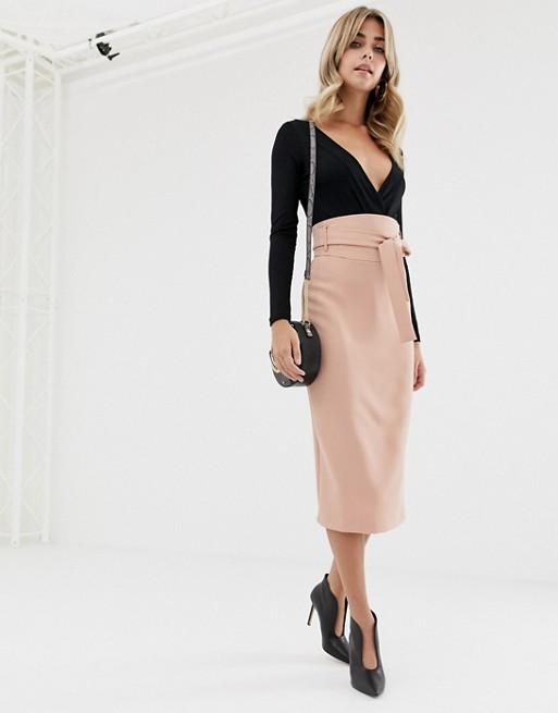 ASOS DESIGN high waist midi skirt with tie | AS