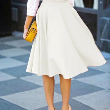 White High Waist Midi Skirt from Midnight Band