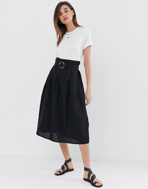 ASOS DESIGN high waist midi skirt with tortoise shell buckle and .