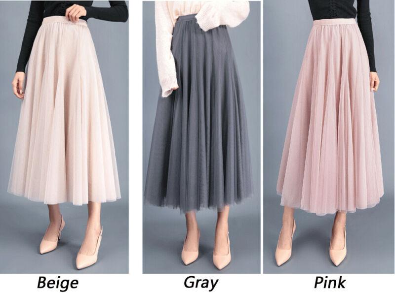 2019 Summer Autumn Women Tulle Skirt Pleated Skirt Black High .