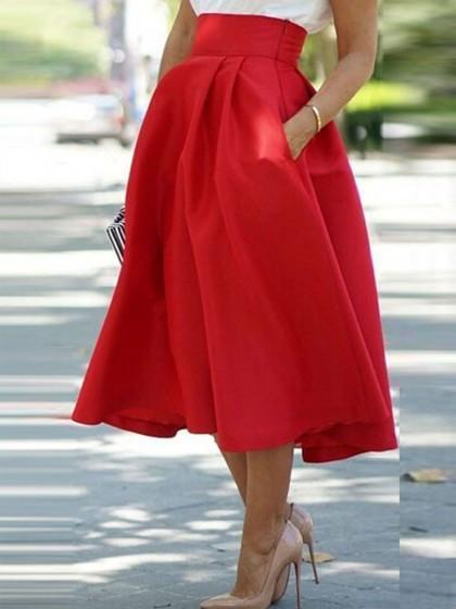 Red High Waist Chic Midi Skirt with Pockets – Lyf