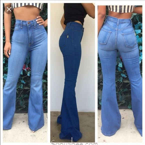 Bell bottom High waisted black jeans High waisted denim jeans with .