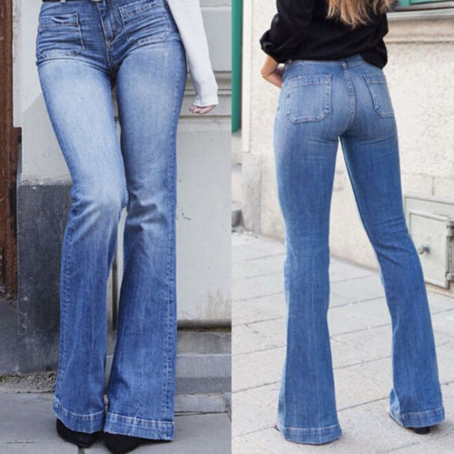 Fashionable Women Bootcut Jeans Stretch Denim Pants Ladies High .