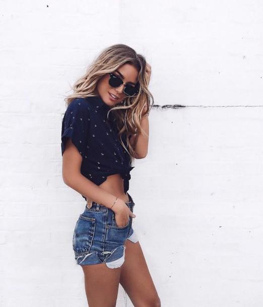 shorts, denim shorts, ripped shorts, navy top, summer holidays .
