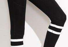 Black Stripe Trim High Waist Leggings | Outfits with leggings .