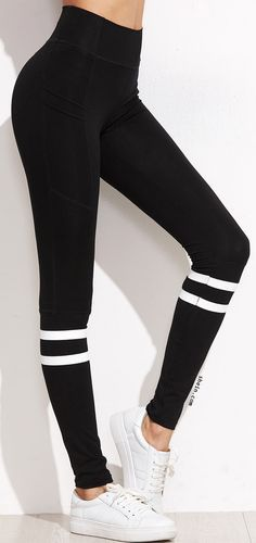 Black Stripe Trim High Waist Leggings | Outfits with leggings .