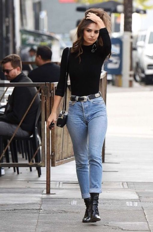 black long sleeve + blue jeans (With images) | High waisted jeans .