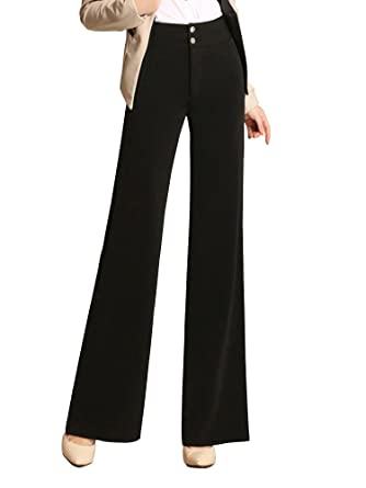 Gooket Women's High Waist Boot-Cut Pants Office Work Wide Leg Suit .