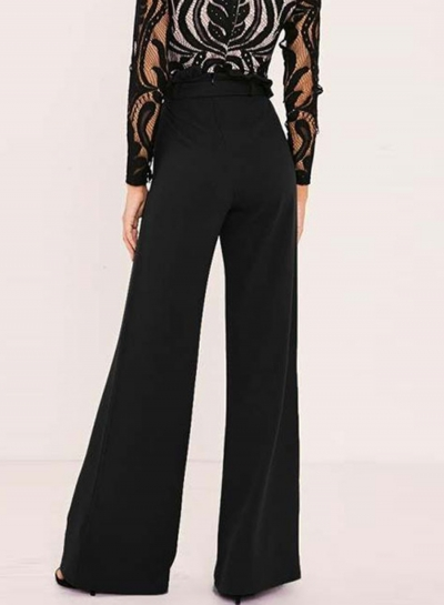 Women's Solid Color High Waist Wide Leg Pants - AGATHAGARCIA.C