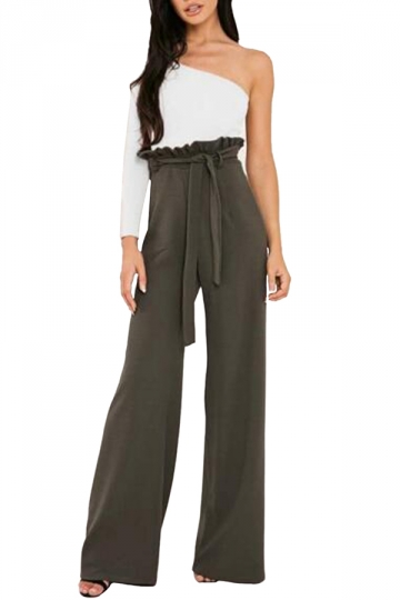 Womens Waist Tie Ruffle Wide Leg High Waisted Leisure Pants Army .