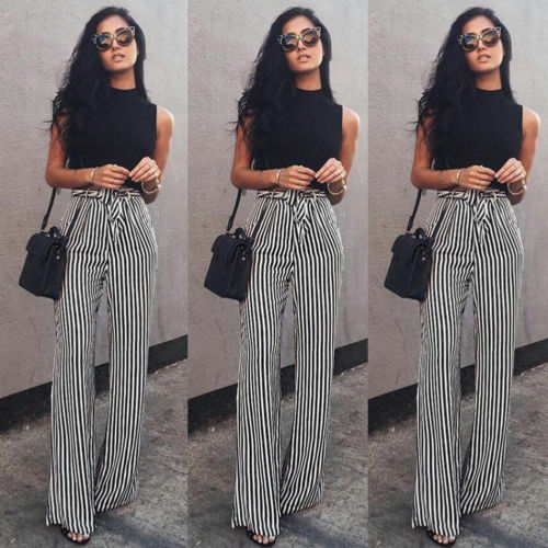 Women's Striped Palazzo Straps Pants Long Loose High Waist Wide .