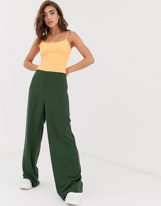 ASOS DESIGN wide leg pants with clean high waist | AS