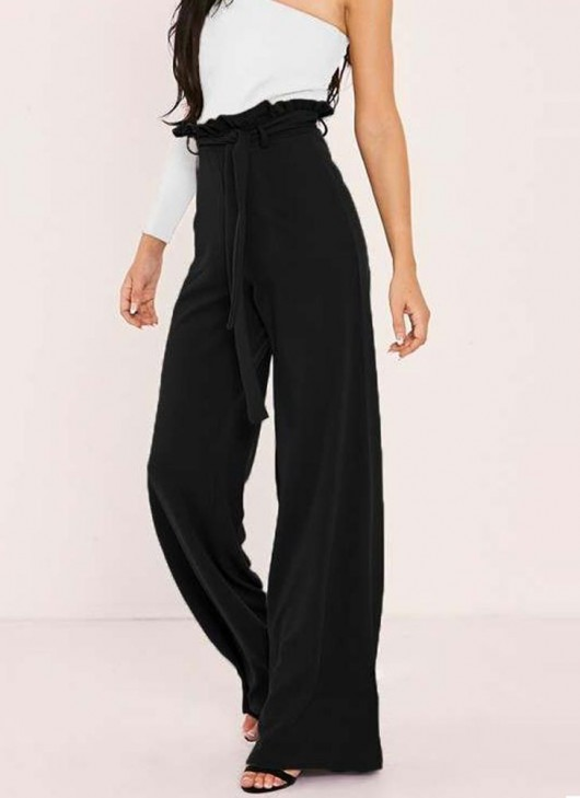 Women High Waist Pants Belt Ruffle Zip Solid Color Wide Leg .