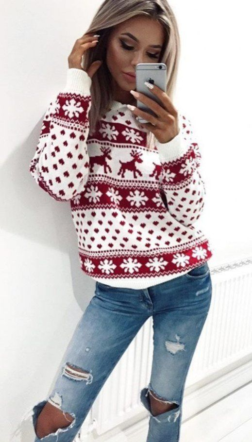 merry Christmas sweater red and white ripped jeans | Cute .